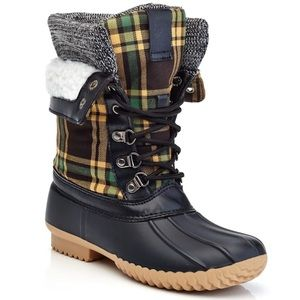 Henry Ferrera Plaid LaceUp Insulated Duck Boots